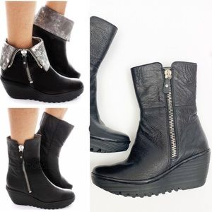 Fly London YexFly Leather Wedge Ankle Boots